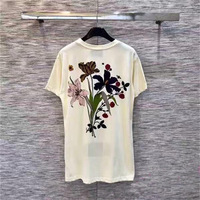 High Quality 2019 Early Cotton T shirt Fashion round neck letter floral print short sleeved cotton loose women T shirt