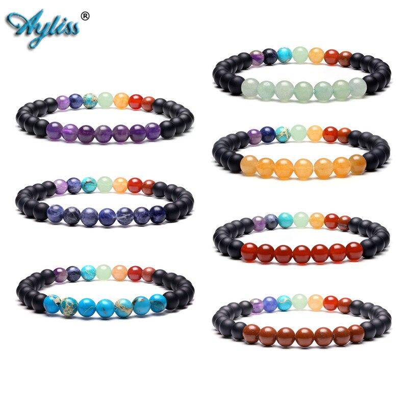 Ayliss New 7 Chakra Healing Crystals Gem Stone Reiki Balancing Meditation Beaded Stretch Bracelet Natural Stone Bracelet Jewelry