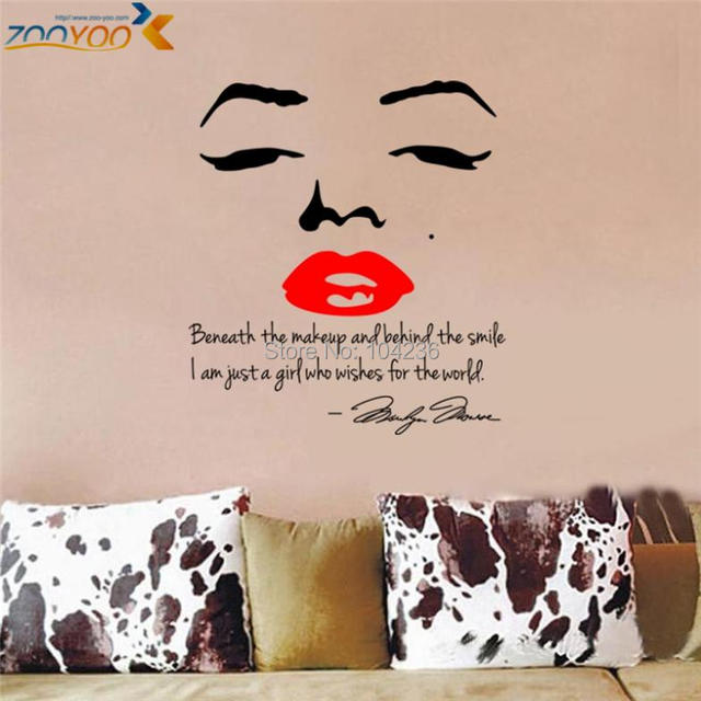 hot selling marilyn monroe quotes wall stickers zooyoo8002 bedroom vinyl wall decals living room home decorations diy wall art