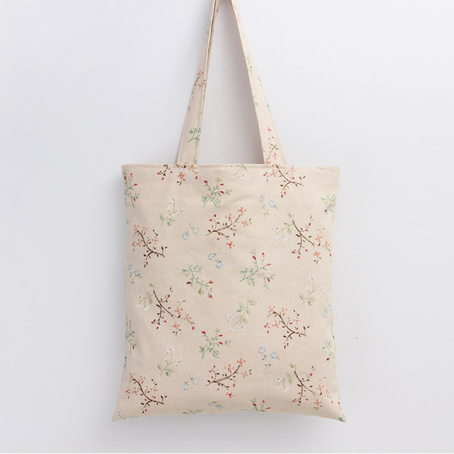 Handmade Cotton Linen Eco Reusable Tote Bag