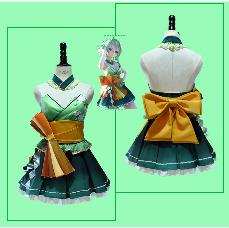 Japanese anime Anime Vocaloid cosplay costumes for women adults Singing Miku deluxe halloween Costumes long dress CM063