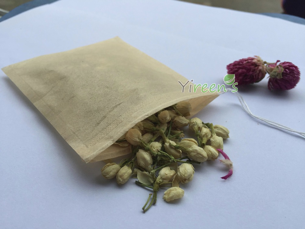 100pcs/lot 85 X 100mm Disposable unbleached Tea filters wood pulp color Filter paper, Single drawstring Brown color Tea bag ...