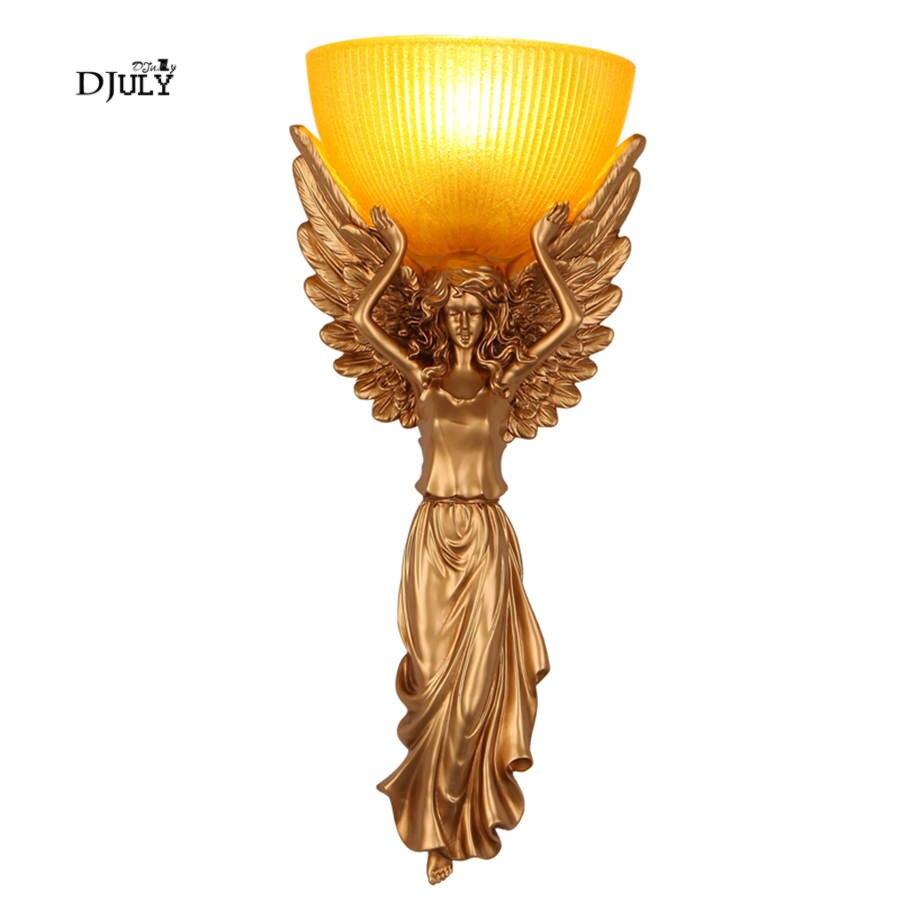 Led Lamps Art Deco Solemn Angel Wall Lamp Glass Lampshade Retro Living Room Decoration Villa Kitchen Bedroom Wall Sconces Light Fixtures