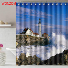 WONZOM Seaside House Polyester Fabric Shower Curtain Bathroom Decor Landscape Waterproof Cortina De Bano With 12 Hooks 2017 Gift
