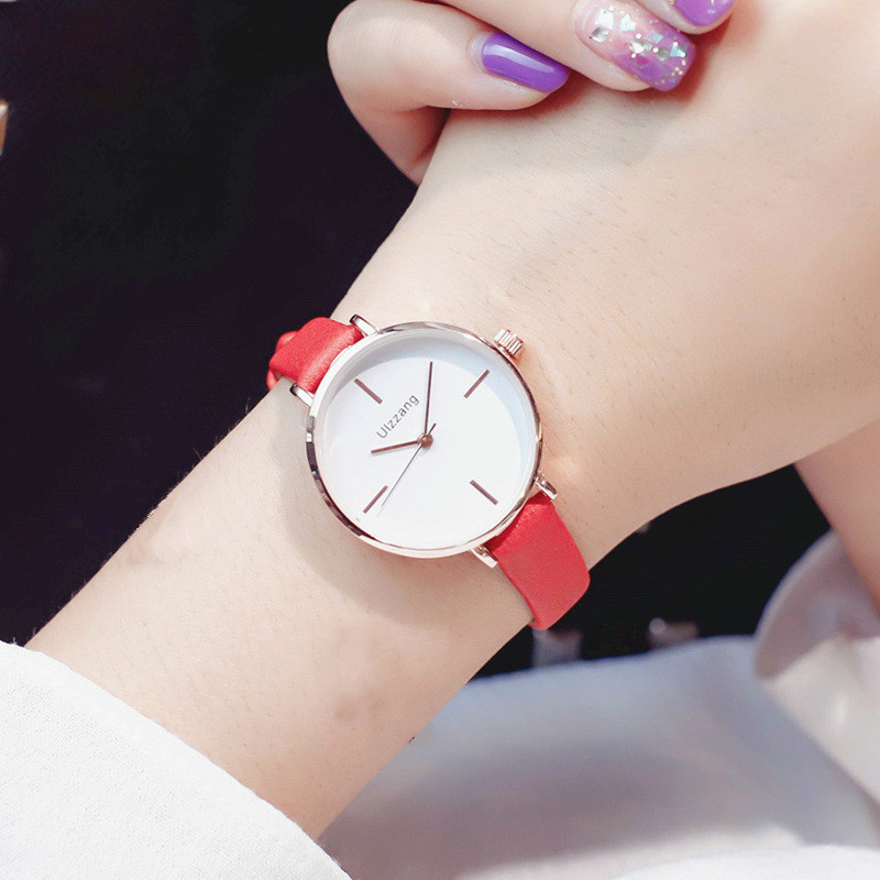 Ulzzang Top Brand Fashion Women Watches Casual Ladies Leather Dress Watch Simple Female Quartz Wrist Watch Clock Relojes Mujer new 2017 crrju fashion casual clock bracelet watch women rhinestone watches women s elegant quartz wrist watch relojes mujer