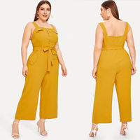 XL 4XL 2019 Summer Plus size Women Jumpsuits Casual Yellow Spaghetti Strap Rompers Large Ladies Wide Leg Overalls OL Jumpsuits