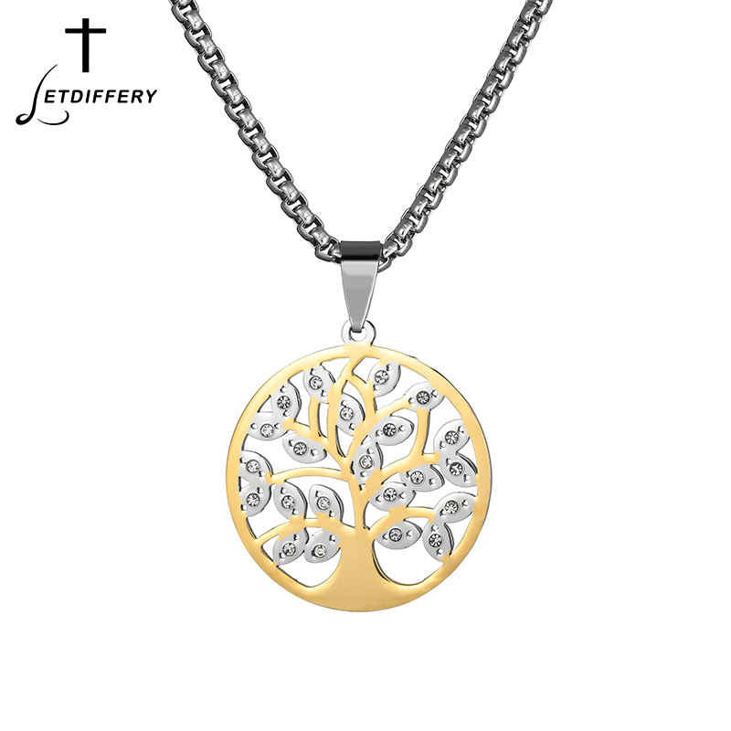 Necklaces & Pendants Shop For Cheap Letdiffery New Fashion Tree Of Life Pendant Stainless Steel Gold Color Crystal Tree Necklace For Women Gift Big Clearance Sale