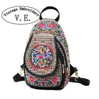 Vintage Embroidery Women Chest Packs Ethnic Style Women Messenger Bag Print Flower Canvas Small Retro Shoulder