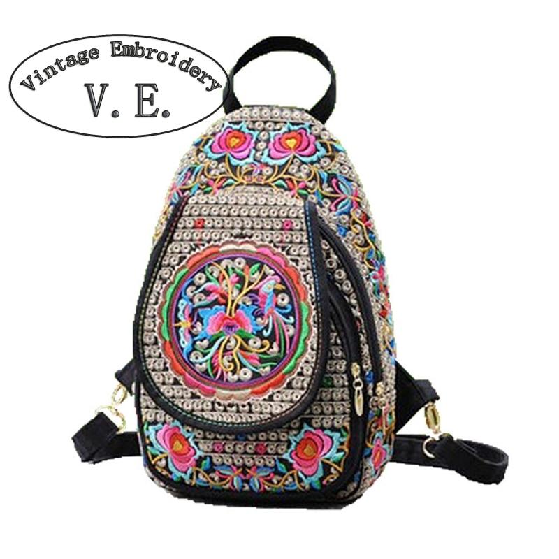 Vintage Embroidery Women Chest Packs Ethnic Style Women Messenger Bag Print Flower Canvas Small Retro Shoulder Chest bag aerlis men women canvas retro 6inch phone portable small waist bag