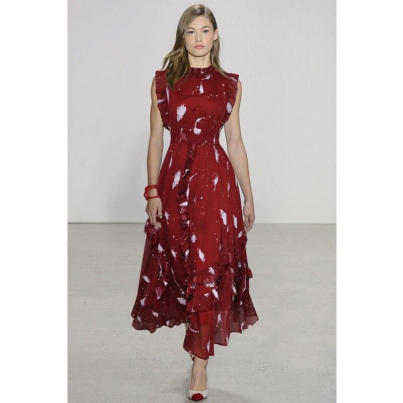 women summer dress 2019 white graffiti print burgundy blue chiffon long dress round neck sleeveless ruffle