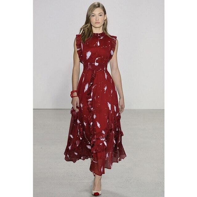 36ca996be0e women summer dress 2018 white graffiti print burgundy   blue chiffon long  dress round neck sleeveless ruffle elegant maxi dress