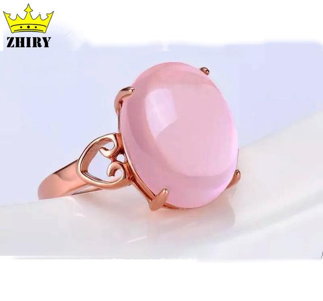 Anillo de piedra de la gema Natural de cuarzo rosa genuino esterlina del sólido 925 de plata mujer anillos de señora jewelry