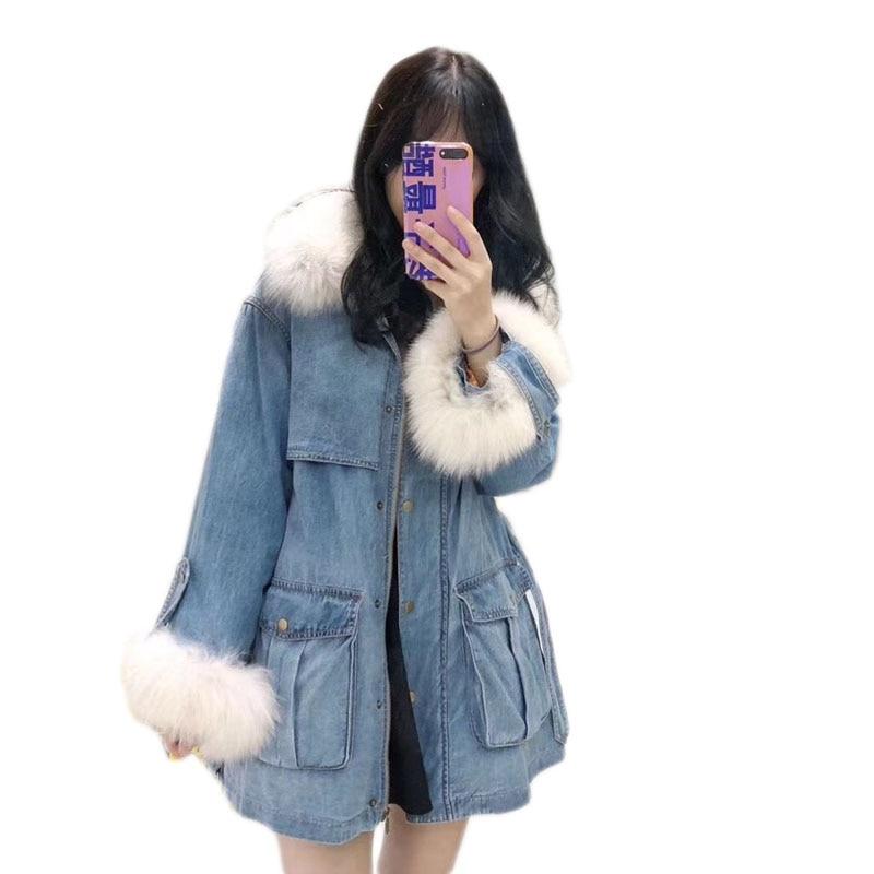 WSYORE Fashion Mid-long Duck   Down   Denim Jacket 2018 New Winter Women Long Sleeve   Down     Coat   Female Parka   Down   Jacket NS865