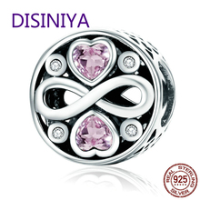 DISINIYA Authentic, 100% 925 Sterling Silver Pink Crystal Beads Heart Love Charm Bracelets scc240 s925 Fine Jewelry