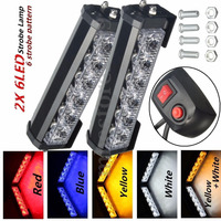 2X 6 LED Car Emergency Warning Strobe Flashing Light Lamp Hazard Grill + Switch Red Blue Yellow White 12V