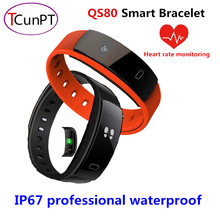 New QS80 Good Wristband Blood Strain Bracelet Coronary heart Price Health Sleep Measure IP67 Waterproof Name Tracker for Android iOS