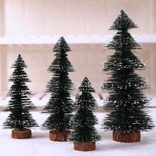 2019 Hot Selling Newest Novel Pine Needle Christmas Tree Pagoda Sticky Snow Christmas Tree Mini Tree Merry Christmas Ornaments