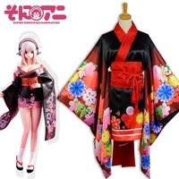 Аниме партии Модные Супер Sonico анимация Косплэй костюм красные, черные кимоно лолита платье юбка Бесплатная доставка
