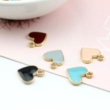 6pcs korean style cute diy jewelry accessories earrings girl heart alloy drops oil pendant love material