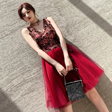 Burgundy Lace Sequins Mesh Dress Women Cheongsam Sexy Tight Slim Exquisite Novelty Chinese Prom Dresses Perspective Vestidos