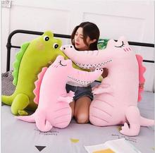 WYZHY Soft down cotton crocodile dinosaur pillow doll sleeping bedside ornaments to send friends and children gifts 80CM
