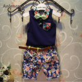 Anlencool Boy Clothing Sets  New Fashion Style Kids Clothing Sets Blue Bow tie Shirt+Print Pants+Belt 3Pcs for Boy Clothes