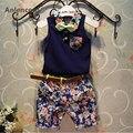 Anlencool Boy Juegos de Ropa Nuevo Estilo de Moda Ropa de Niños Establece Azul pajarita Camisa + Pantalones de Impresión + Cinturón 3 Unids para la Ropa Del Muchacho