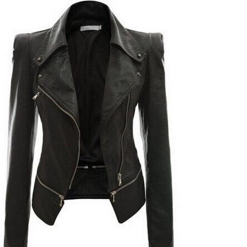 2018 Autumn Women faux Leather Jacket Gothic Black moto jacket Zippers Long sleeve Goth Female PU Faux Leather Jackets