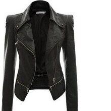 2018 Autumn Women faux Leather Jacket Gothic Black moto jacket