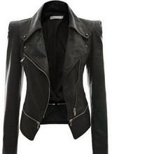 Jaqueta de couro falso gótico preta feminina, casaco de couro falso com zíper e manga longa para mulheres, outono 2018