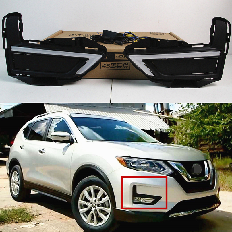 Car Flashing For Nissan X trail Xtrail 2017 2018 LED DRL Daytime Running Lights Daylight with