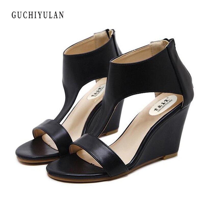black Gladiator Sandals Women 2018Summer Platform Sandals Women Wedges 9 CM High Heel Sandals Female escarpin plateforme sandale