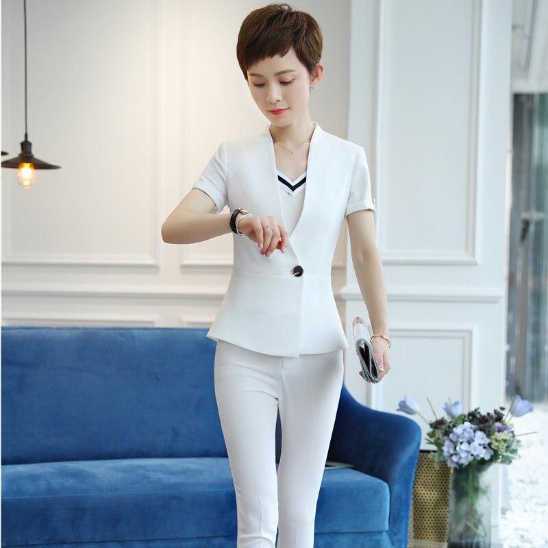 Mode d'été uniforme Styles Slim Blazers costumes deux pièces avec hauts et pantalons pour femmes dames pantalons pantalons ensembles