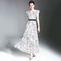Women New Maxi Dress 2018 High Waist Polka Dot Pattern Printed Vestido Longe Female Plus Size O-Neck Chiffon Long Dresses N618