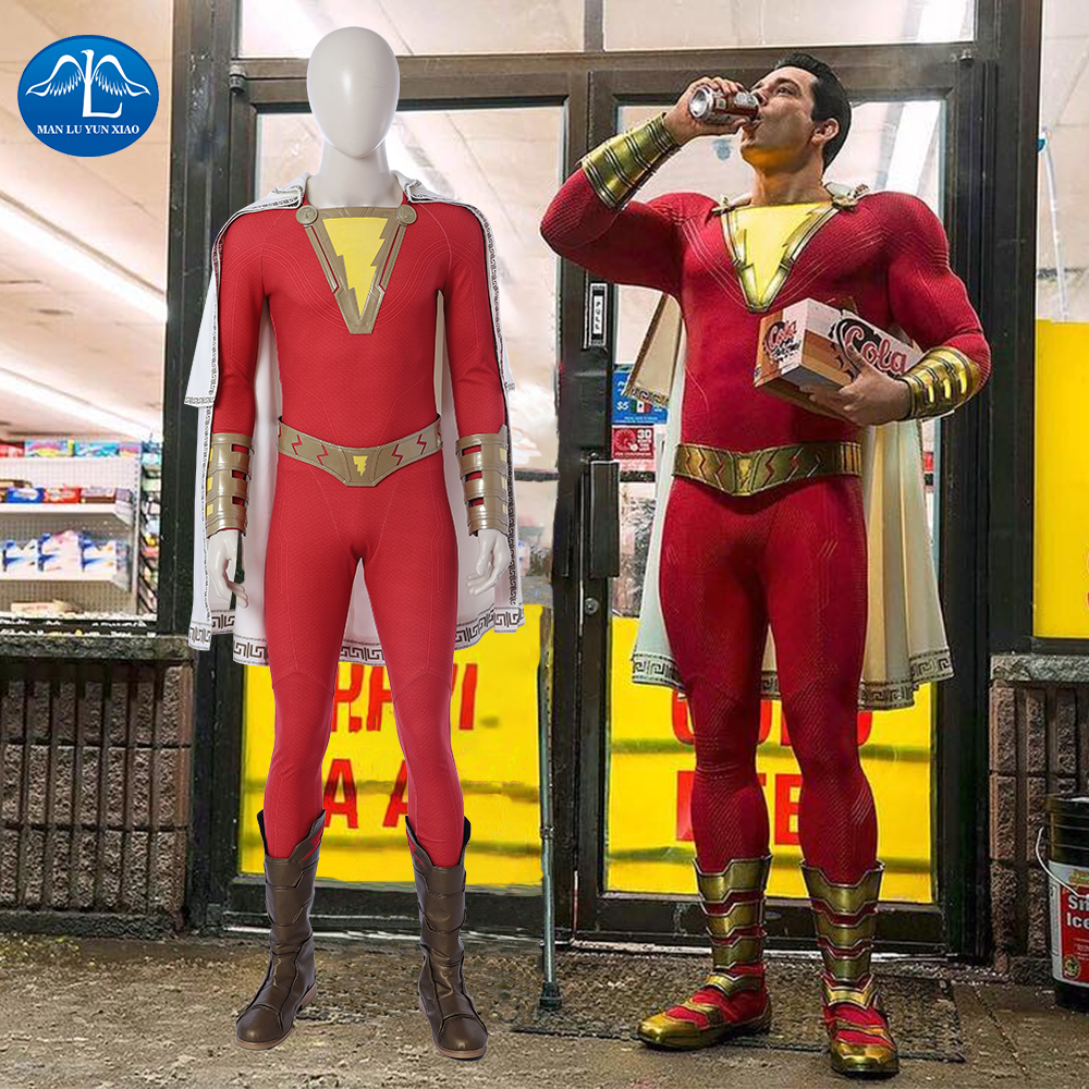 MANLUYUNXIAO 2019 Movie Shazam Cosplay Costume Halloween Costumes For Men Captain Marvel Shazam Costume For Adult Custom Made
