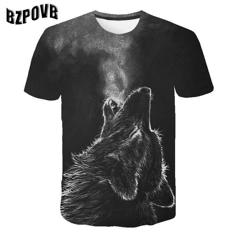 2019 New Men T Shirt 3D Wolf Tshirt Funny T Shirt Men Women T-shirt Autumn Summer Tee Short Sleeve Tops O-neck DropShip