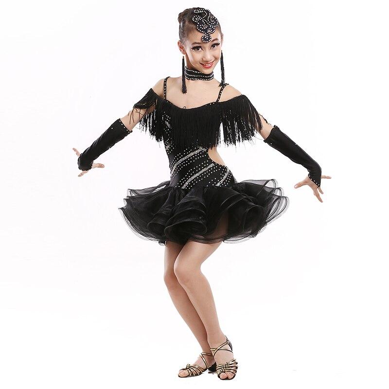 Children Latin Dance Dress Child Professional Sequins Tassel Samba/rumba/tango Dance Dress Girls Waltz Dance Stage Costume 89