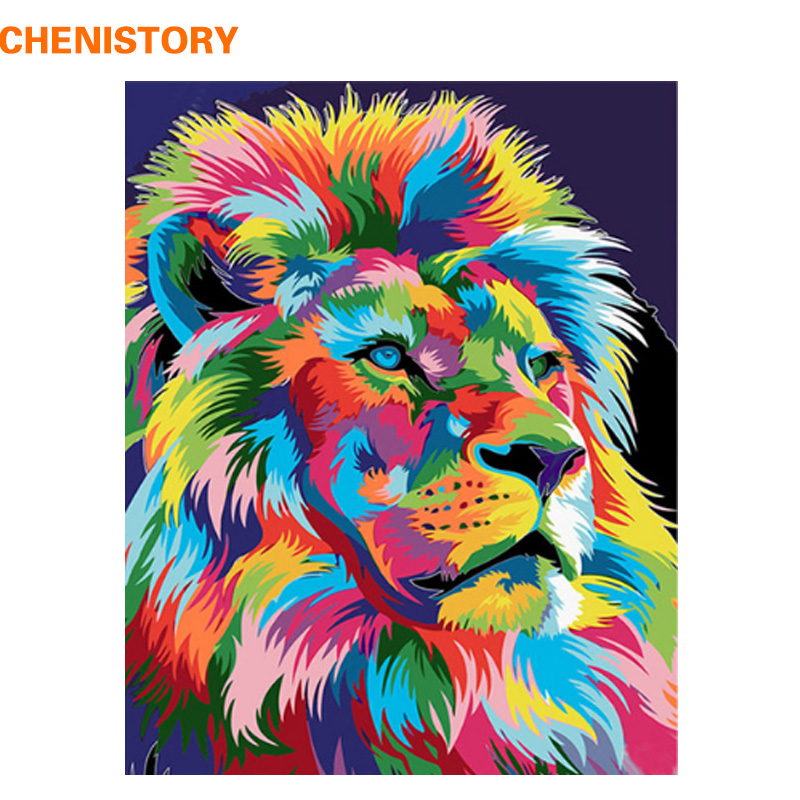 CHENISTORY Frameless Colorful Lion DIY Painting By Numbers Handpainted Oil Painting For Home Decor Painting Calligraphy 40x50cm