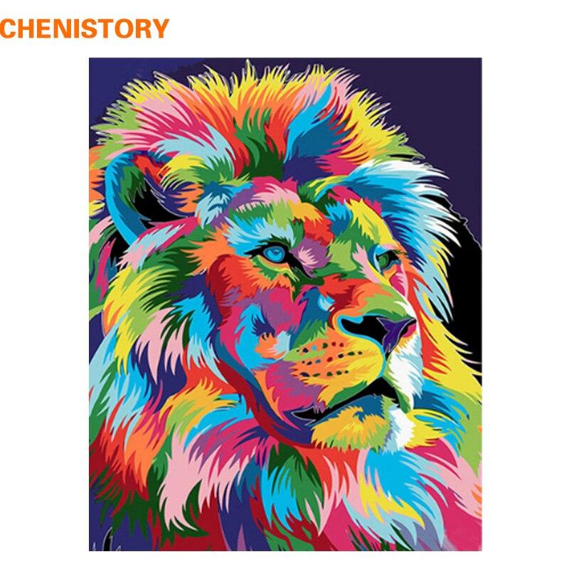 CHENISTORY Rahmenlose Bunte Lion DIY Malerei Durch Zahlen Handgemalte Öl Malerei Für Wohnkultur Malerei Kalligraphie 40x50 cm
