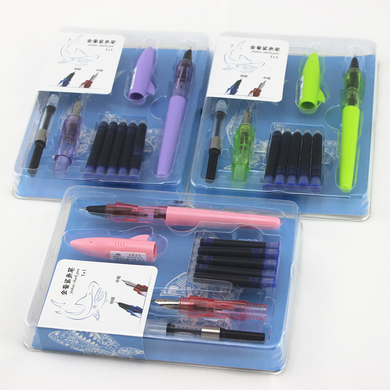 JINHAO Shark Cover 0.5mm 0.38mm Ink Pens Suit Writing  Ink Pens Set for Student School Supplies Stationery writing