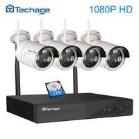Techage Video Surveillance System 1080P HD IP WIFI CCTV Set 4CH CCTV NVR 4PCS 1080P Outdoor