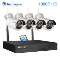 Techage Video Surveillance System 1080P HD IP WIFI CCTV Set 4CH CCTV NVR 4PCS 1080P Outdoor