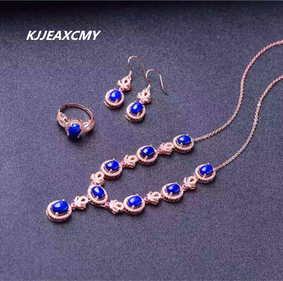 KJJEAXCMY boutique jewelry, pure natural lapis, womens suite, 925 silver gold gold craft crystal jewelry