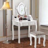 Giantex дерево макияж туалетный столик, стул комплект ювелирных изделий стол Вт/4 ящика и зеркало белый дом мебели HW56023