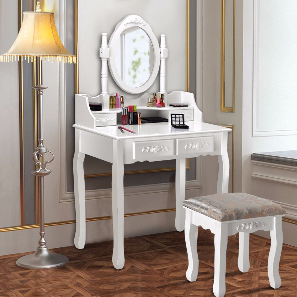 Giantex Wood Makeup Dressing Table Stool Set Jewelry Desk W/4 Drawer&Mirror White Home Furniture HW56023 giantex wood makeup dressing table stool set jewelry desk drawer mirror black home furniture hw52951bk