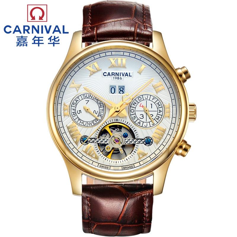 2016 nouvelle carnaval tourbillon automatique mécanique complet acier militery montre mens en cuir véritable mâle étanche montres de luxe