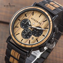 Watches Mens Chronograph Hands Wood Bobo Bird Stainless-Steel Luminous P09
