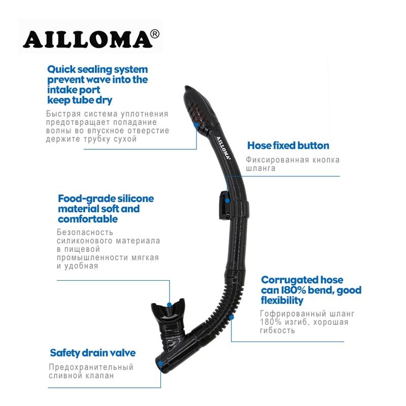 AILLOMA Undervattensutrustning Dykmaske Snorkel Set Silikon Full - Vattensporter - Foto 3