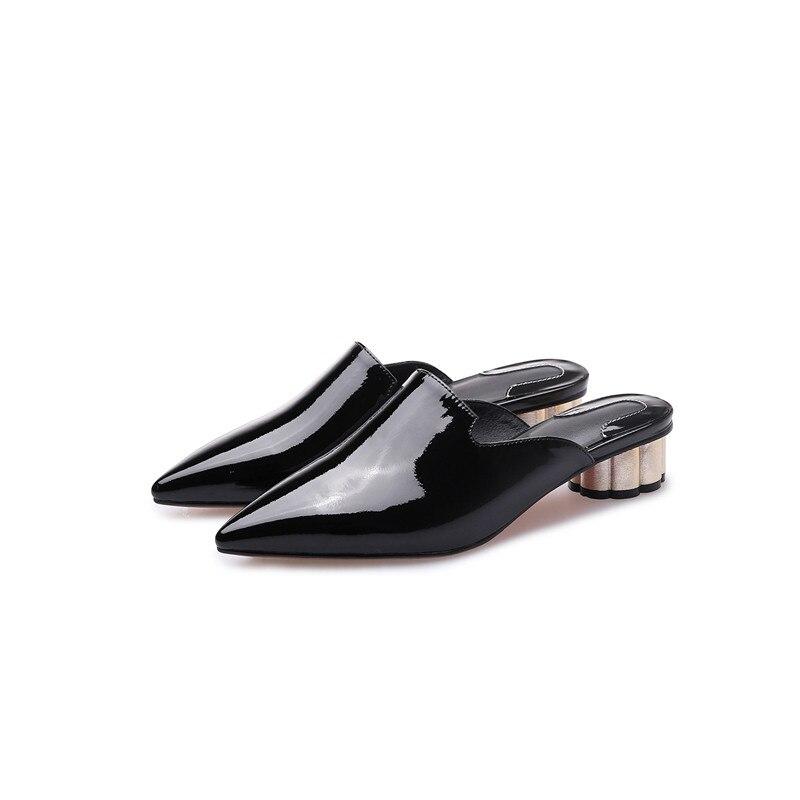 MEMUNIA 2019 nouveauté femmes pompes solide couleurs chaussures en cuir véritable bout pointu été mules chaussures femme fête chaussures-in Escarpins femme from Chaussures    2