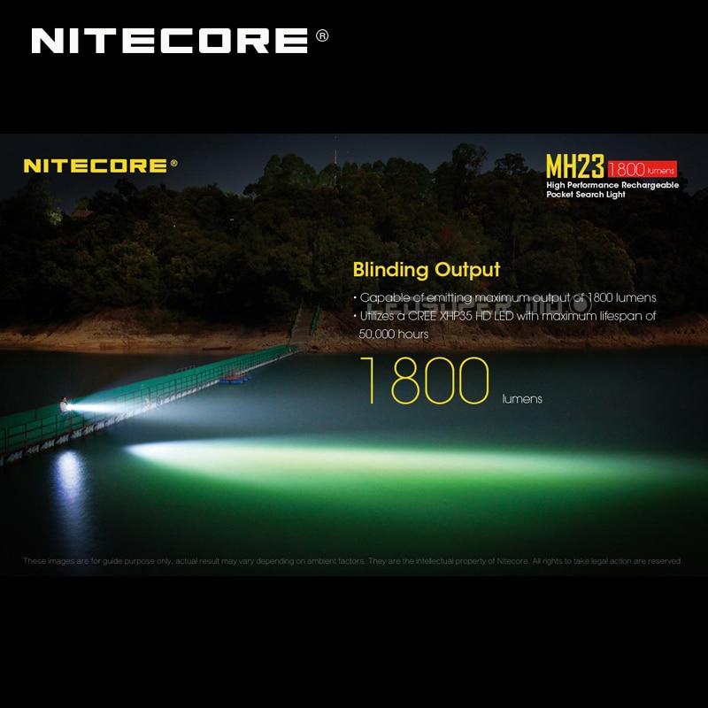 Карманный поисковый светильник Nitecore MH23 CREE XHP35 HD светодиодный Micro USB Перезаряжаемый 1800 люмен флэш светильник - 3